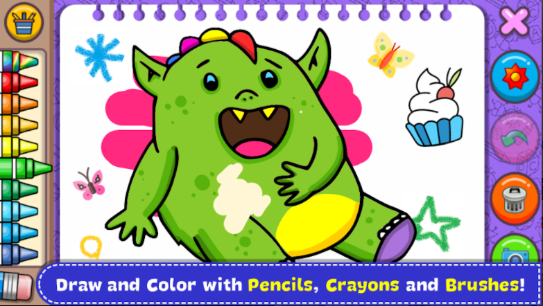 """Fun games that develop and stimulate the creativity of kids of all ages through a variety of activities:  Paper The way you paint and color hundreds of pages on paper. Decorate your creations with beautiful stickers P improves the combination of paints (pixel art) and eyes by pixels. Challenge your memories with the classic game Finding Couples. Explore the sounds of Sounds and create fun combinations. Create a fireworks show with your own fingers. Learn Nice Colors with a great game. Create a beautiful ocean world using the imagination.  More than one and a half hundred fun pages waiting for colorful motifs of cute animals and monsters so that no one is afraid!  """"Free mode"""": You can draw and color freely and give free rein to your imagination.  You can paint with your own fingers and choose from different colors. Save your drawings and share them on Facebook, Twitter, Instagram, WhatsApp, Email or your favorite social networks. It's hilarious!  The whole family, parents and kids will have a few hours of fun together!  A great way to spend time with your kids while you create and share beautiful moments to play.  The little ones will be able to doodle, decorate and color freely while the adults and even adults will be able to challenge themselves by becoming colorful within the range of each drawing.  *** Features ***  All content is 100% free. Imagin enhances imagination, art development and children's ability to concentrate and motor skills. The game is extremely fun and educational for both children and boys of all ages and interests, including inf children, kindergarten children, young children and preschoolers. Table works perfectly for both tablets and telephones. Simple is a simple and very intuitive design. Stro different strokes and colors. More than 100 stamps to decorate your drawings. Flashing Colors It achieves dynamic random colors and beautiful effects for endless bright colors. Delete the Rubber function. The You function to undo a stroke you don't l"""