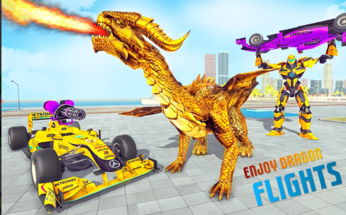 Dragon Robot Games and Formula Car Robot Game are in your single package for lovers of robot transformer games, formula car games and flying robot games. The Flying Robot Car game is the best robot game including the robot transforming robot battle of the multi robot transformation game. Whether you like to play Dragon Robot Transform Battle or Formula Car Driving games, you must have this formula car robot game installed on your mobile phone. Flying Dragon Robot Transform War is new to the market because it incorporates the best features of formula car robot games and flying robot games. Many robot transformation features combat; The best source of dragon robot car games has car driving control and fish robot shooting power. Experience thrilling gameplay of realistic robot shooting games and robot transforming games as part of the modern city war. Save the world from alien invasion and become the best fighter of match robots in Robot Shooting Games and Robot Transformer Games 2020.  Play formula car robot game and dragon robot car game which categorizes multiple transforming robots in the new gameplay of robot warfare. You are the last hope of humanity who can fight the battle of survival to stop the evil plans of alien objects. Become the brave hero of the flying robot shooting game and resist the alien invasion with the help of your robotic super power. Transform into fish robots and send evil forces to hell in the ultimate robot battle and Grand City battle. You are confronted by giant war robots who are attacking the planet to implement their plan to rule the earth. Enter the flying robot battlefield to survive to the end and prove yourself as the lone savior of the modern world.  Strengthen the advanced combat machines of your match robot games between the best robot transformer games, robot shooting games and flying dragon robot games. Formula car racing in the formula car robot game has been very carefully integrated which provides real control even when running at high speeds. You can fly around by transforming into dragon robots to shoot enemy dragons with fireballs. In three robot conversions, your match robot is strong enough to deal with all the enemies attacking alone. Since we are fully aware of the user's attraction towards transforming robot warfare with multiple super robot powers, we kept in mind every aspect of user choice to equip our robots with destructive powers in this flying dragon game. In this dragon robot car game, battle the city of future robots and play as a fish warrior robot to destroy the rule of alien invaders.