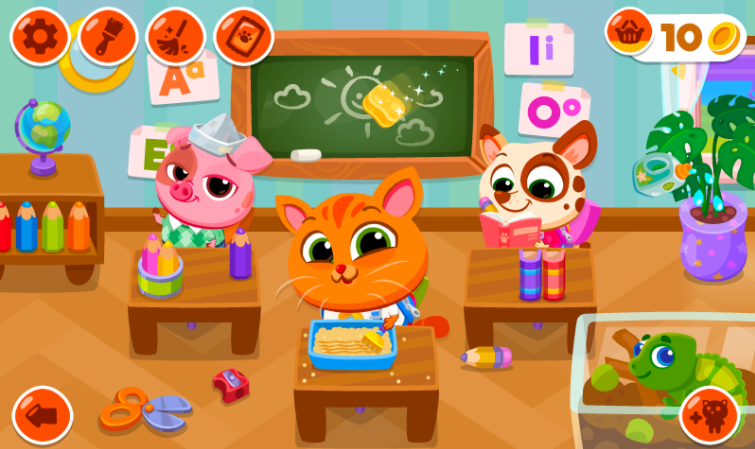 Do you like school or not? Don't worry, you rule this school! Meet your virtual pets and make their learning great.  Decorate your pet outfits with unique outfits and start with the subject of your choice. Is it art, gym, music, language or maybe math? No matter what happens, try them all and educate yourself while having fun.  Art To express your creativity, you can draw a picture with the perfect set of colored pencils. Also, your creations can be decorated with a collection of beautiful stickers. Alternatively, you can infuse your imagination with an interesting colorful minigam or create some crazy decorations with fruits and vegetables.  Music Learn to play the piano or prepare a concert with your favorite instruments. You can enjoy a single instrument or a whole band including guitar, piano, drums, horn, violin, cello, harp and vocals. Decorate the scene with fog machines, confetti and disco balls. Dress up and fix makeup. This time it's fun to rock this school!  GYM Get some practice in the fresh air. Always exciting to go on a slide or swing with a friend. Organize gymnastics for an hour or shoot some hoops.  Math and language Let's do some brain training. You can play with geometric shapes or learn about addition, subtraction, multiplication and division at the problem stage of your choice. Learn some basic English words or train your writing to master the alphabet.  School recovery Become a masterchef. Prepare delicious sandwiches, sweet fruit and salads for hungry students or serve them yummy birthday cakes.  To return home safely, you can practice walking safely in the legendary road crossing minigam.  Do you want to get to know our adorable virtual pets better? Collect all the puzzles from their memory album, put them in the right place and reveal what memories they will hide. Also, you'll unlock a unique colorful fish for each album page. Decorate the school with a relaxed aquarium full of all kinds of beautiful fish.  Time to try this endless fun! Bub