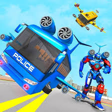 Flying Bus Robot Transform War- Police Robot Games APK Download
