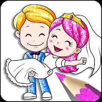 Glitter Bride and Groom Coloring Pages For Kids APK download