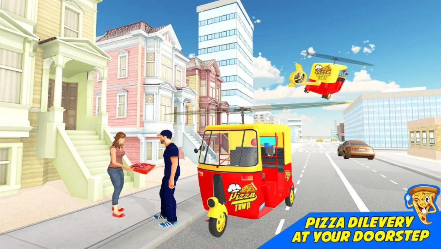Tuk Tuk became the pilot of auto rickshaws with pizzeria cargo autorickshaws and pizza delivery games at the best restaurants in town. The air pizza delivery service starts with the first flying tuk tuk autorickshaw and your best pizza delivery adventure begins and your loyal flying tuk tuk autorickshaw will get you to your destination on time. Flying Auto Rickshaw Air Pizza Delivery Simulator is a unique pizza delivery helicopter flying game game Find the shortest and fastest way to deliver delicious food to the winter crowd Italian Pizza Delivery Game Your mission helicopter will arrive at the lime spot on the target map of the flying pizza fun game with a flying auto. Finish the whole purpose and earn money to buy better, extravagant tuk tuk auto bikes in hot pizza delivery game for boys and girls. Fulfill your duty and grab the pizza from the pizza house and deliver it to the customer on time with the help of pizza delivery tuk tuk auto driving simulator game. Using your flying tuk tuk driving skill pizza delivery game you must deliver pizza to all corners of the world. Have fun with restaurant flying pizza tuk tuk rickshaw delivery boy simulator game. Become the best pizza delivery pilot guy in town and deliver hot pizzas to your doorstep. Park your tuk tuk autorickshaw in the places highlighted on the road. Park your tuk tuk autorickshaw and you will need to move to the ground as a pizza delivery boy to deliver pizza to the customer's door in tuk tuk autorickshaw pizza delivery games. Flying Tuk Tuk Autorickshaw Best Simulation Pizza Delivery Boy Games; Well you have a chance to provide the best pizza in town with extra ordinary flying autorickshaw vehicle games.  Are you ready to deliver pizza to customers? Your responsibility is to deliver big pizzas on time and now carry warm pizzas to their doorsteps. Flying Tuk Tuk Auto Hall Restaurant is a realistic cooking game that takes customized orders with flavors and adds chicken tikka, olives, peppers, fajita and